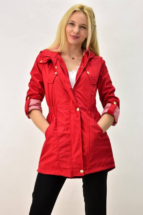 Γυναικεία καπαρτίνα αδιάβροχη με κουκούλα  - Κόκκινο