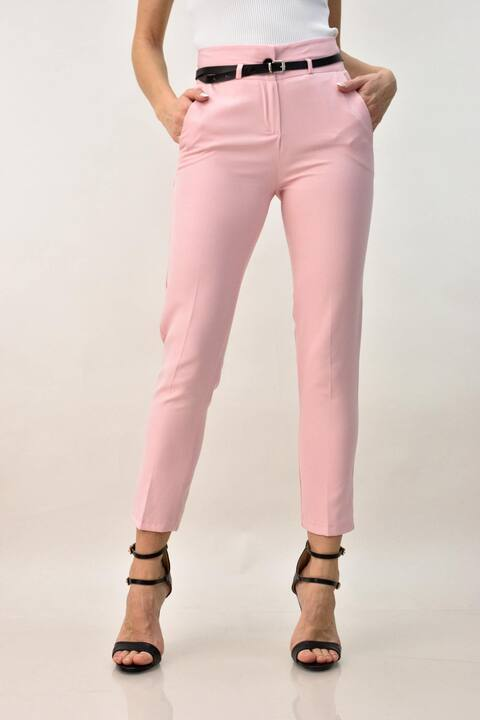Γυναικείο υφασμάτινο παντελόνι με ζώνη - Ροζ