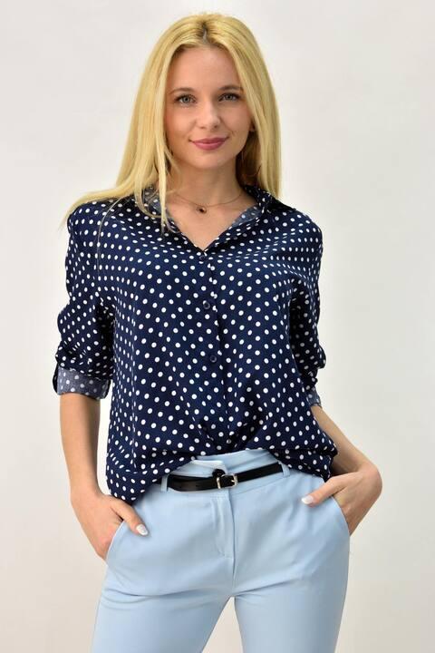 Γυναικείο oversized πουκαμίσα - Μπλε