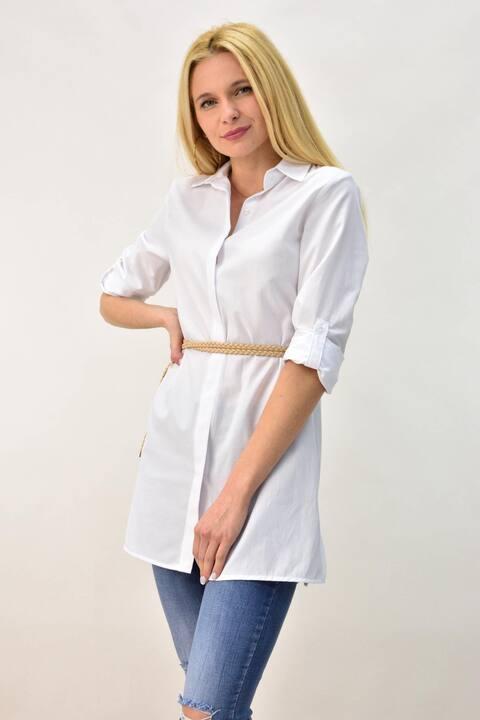 Γυναικείο πουκάμισο σε άνετη γραμμη - Λευκό