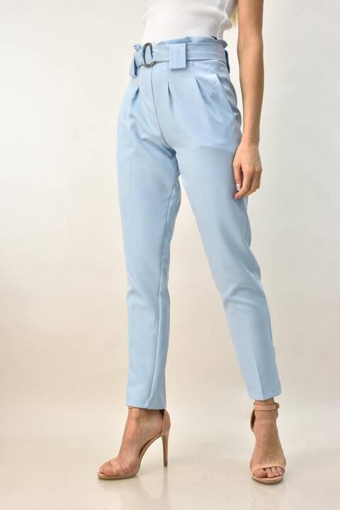Γυναικείο παντελόνι σε ίσια γραμμή και ζώνη με κρίκο - Γαλάζιο