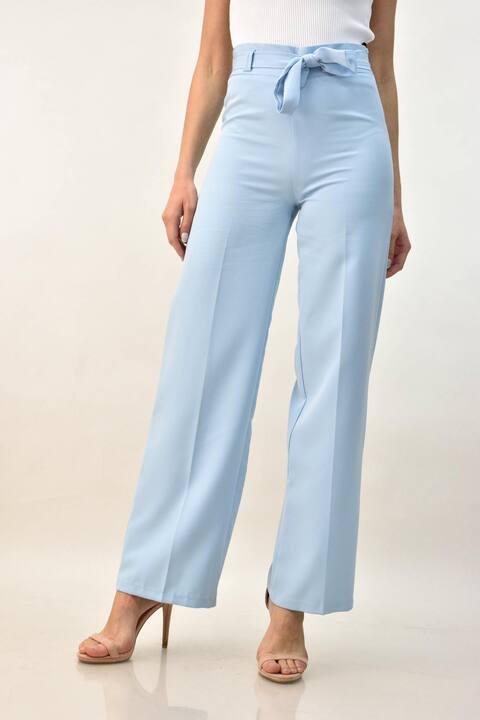 Γυναικείο παντελόνι με ζώνη - Γαλάζιο