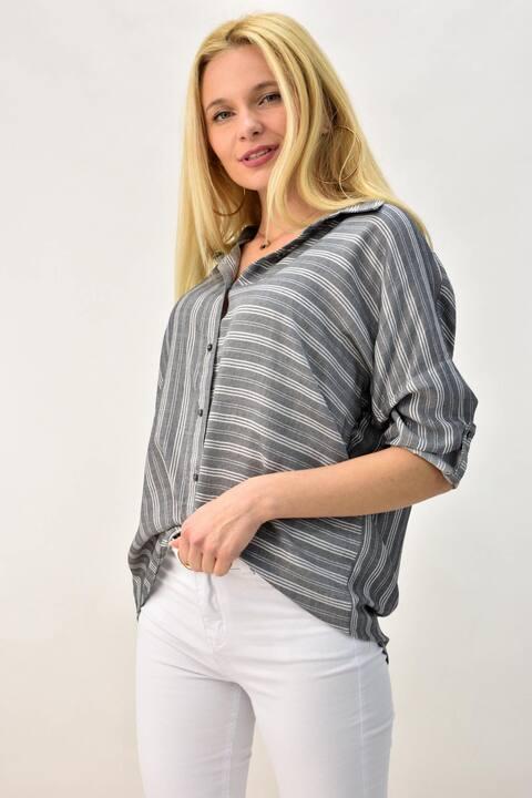 Γυναικείο πουκάμισο με ρίγες  - Γκρι