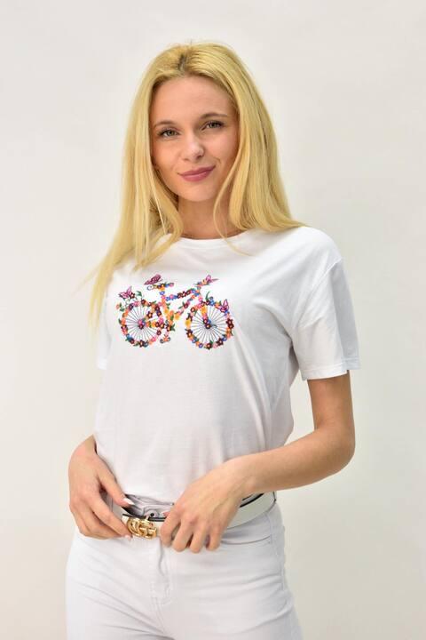 Γυναικείο T-shirt με κέντημα ποδήλατο - Λευκό