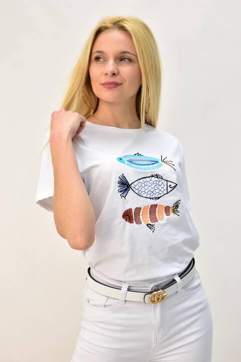 Γυναικείο T-shirt με κέντημα ψάρια - Λευκό