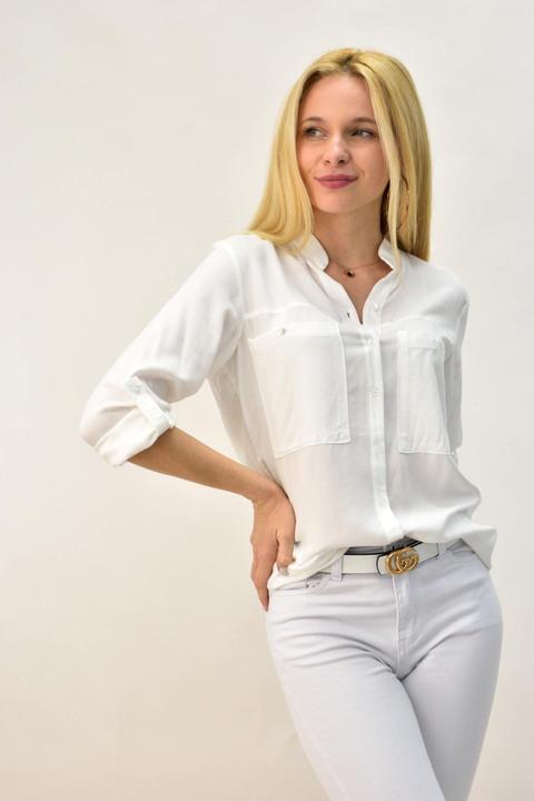 Γυναικείο πουκάμισο μονόχρωμο - Λευκό
