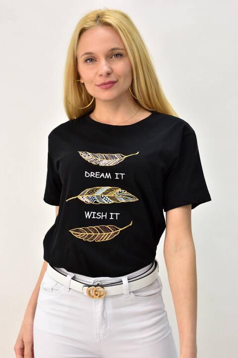 Γυναικείο T-shirt με κέντημα φύλλα - Μαύρο