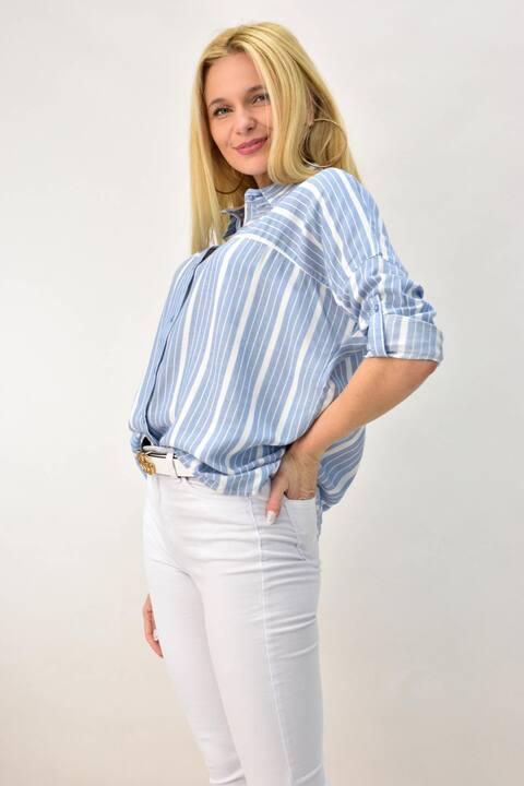 Γυναικείο πουκάμισο με ρίγες και γιακά - Γαλάζιο
