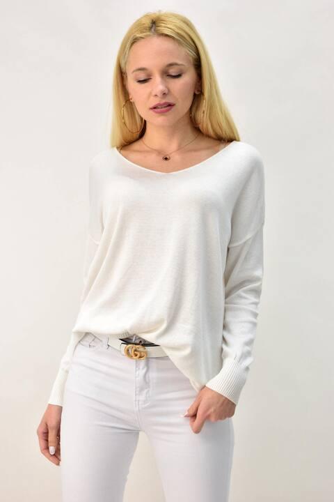 Γυναικεία πλεκτή μπλούζα με V - Λευκό