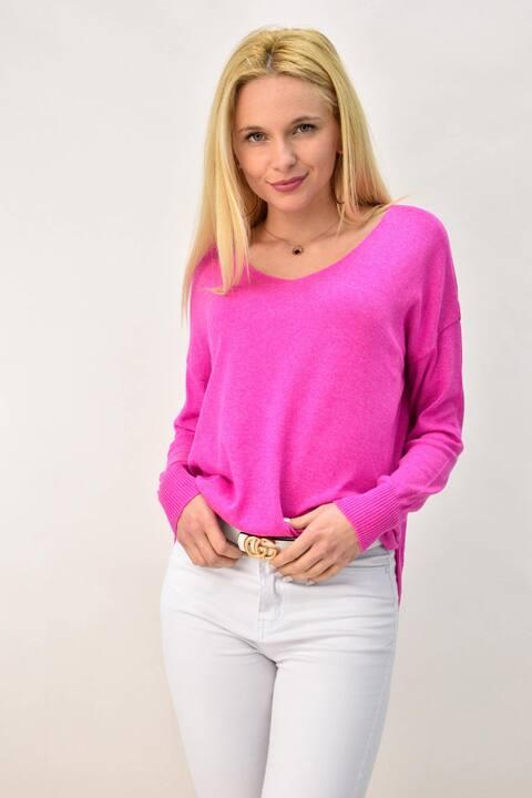 Γυναικεία πλεκτή μπλούζα με V - Φούξια