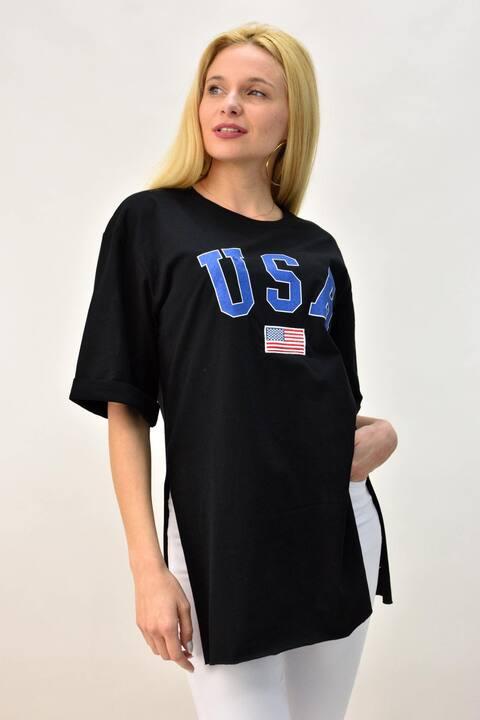 Μπλούζα oversized με τύπωμα USA - Μαύρο