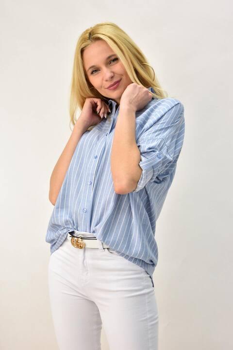 Γυναικείο πουκάμισο με γιακά - Γαλάζιο