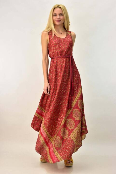 Γυναικείο μεταξωτό φόρεμα - Κόκκινο