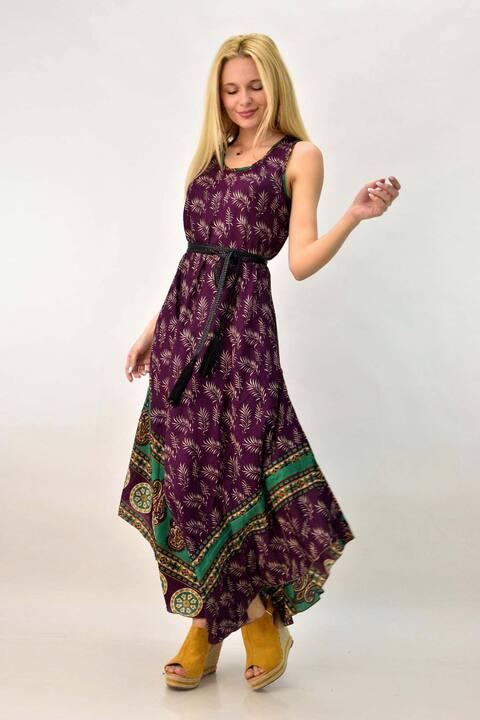 Γυναικείο μεταξωτό φόρεμα - Μωβ