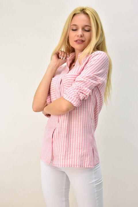 Γυναικείο πουκάμισο με μαο και τσέπες - Ροζ