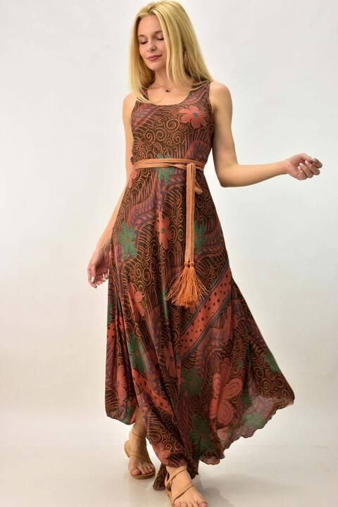 Γυναικείο μεταξωτό φόρεμα - Πορτοκαλί