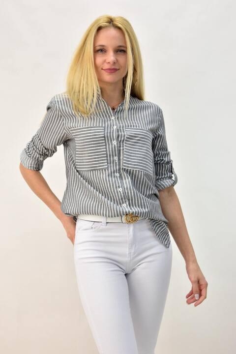 Γυναικείο πουκάμισο με τσέπες - Γκρι