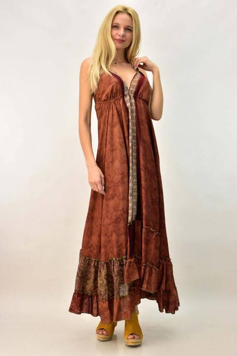 Έθνικ φόρεμα με ανοιχτή πλάτη - Κεραμιδί