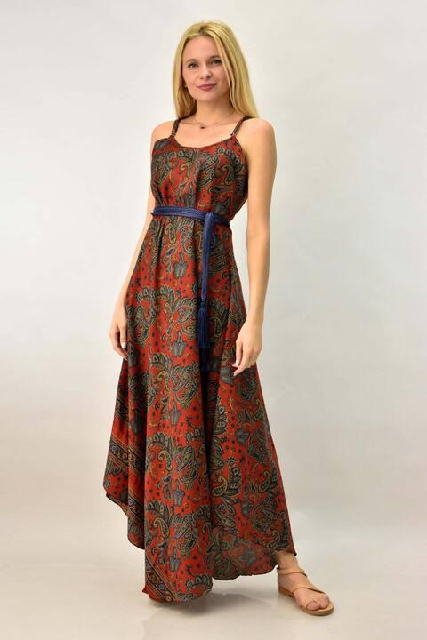 Γυναικείο φόρεμα boho μεταξωτό - Μπορντώ