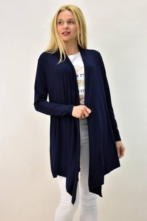 Γυναικεία μονόχρωμη ζακέτα - Μπλε Σκούρο