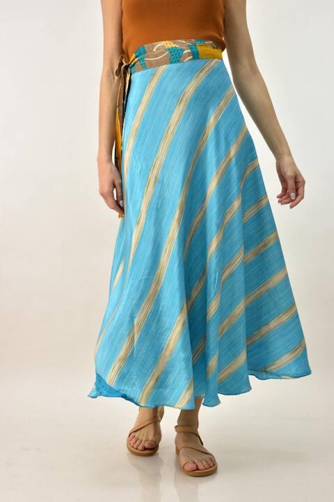 Διπλή φούστα boho - Γαλάζιο
