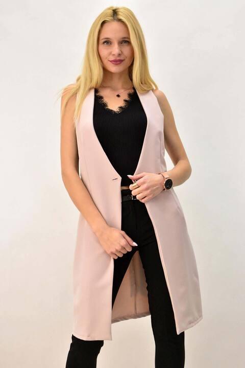 Γυναικείο σακάκι αμάνικο - Απαλό Ροζ