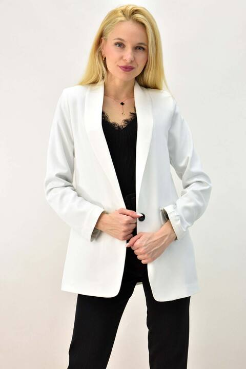 Γυναικείο μπλέιζερ μονόπετο  - Λευκό