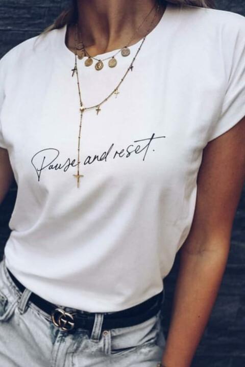 Γυναικείο T-shirt με τύπωμα pause and reset - Λευκό