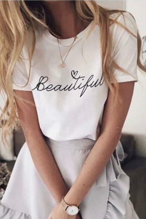 Γυναικείο T-shirt με τύπωμα beautiful - Λευκό
