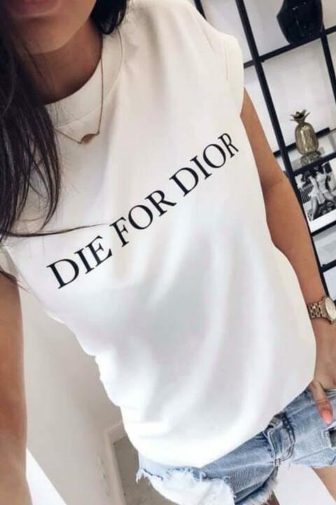 Γυναικείο T-shirt με τύπωμα die for dior - Λευκό