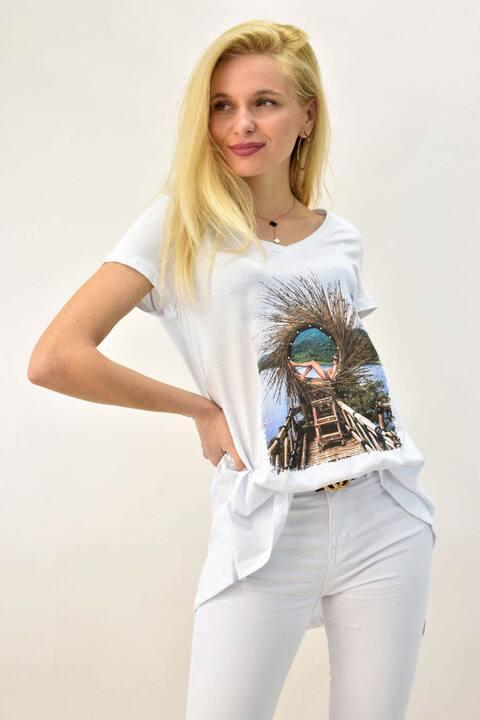 Γυναικείο T-shirt με τύπωμα και στρας - Λευκό