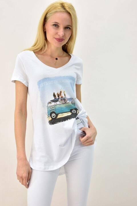 Γυναικείο T-shirt με τύπωμα βανάκι και στρας - Λευκό