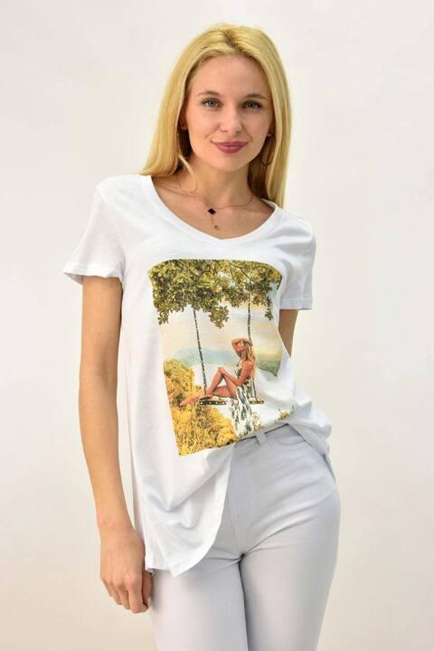 Γυναικείο T-shirt με τύπωμα κοπέλα και στρας - Λευκό