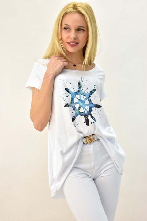 Γυναικείο T-shirt με τύπωμα τιμόνι καραβιού και στρας - Λευκό