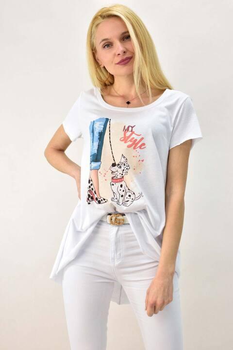 Γυναικείο T-shirt με τύπωμα σκυλάκι δαλματίας  και στρας - Λευκό