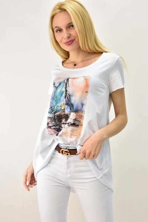 Γυναικείο T-shirt με τύπωμα καράβι και στρας - Λευκό