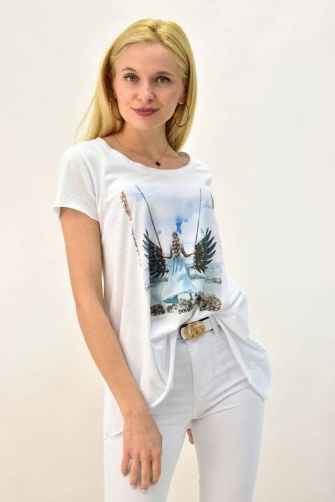Γυναικείο T-shirt με τύπωμα άγγελος και στρας - Λευκό