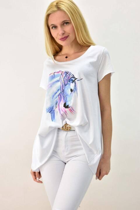 Γυναικείο T-shirt με τύπωμα άλογο και στρας - Λευκό
