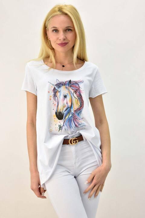Γυναικείο T-shirt με τύπωμα μονόκερως και στρας - Λευκό