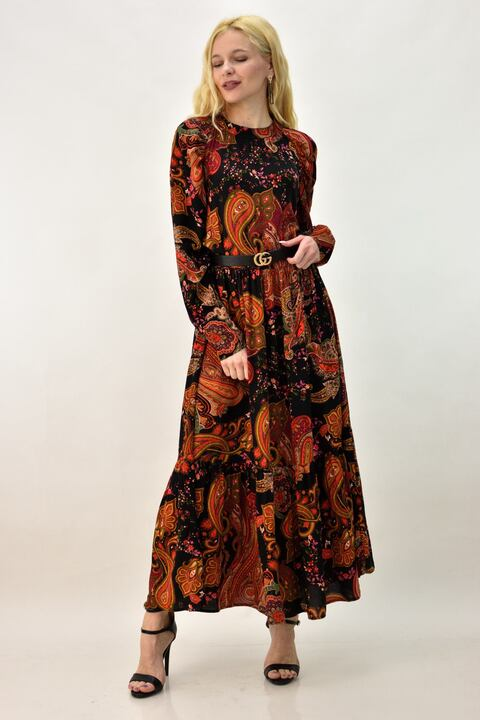 Γυναικείο φόρεμα με σχέδιο λαχούρ - Μαύρο