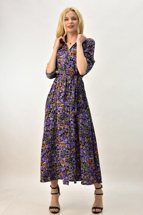 Γυναικείο φόρεμα με λουλούδια - Μωβ
