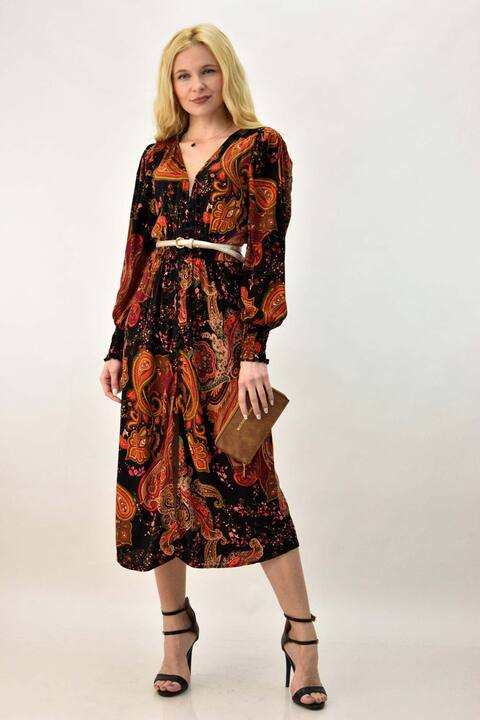 Γυναικείο φόρεμα με λουλούδια - Μαύρο