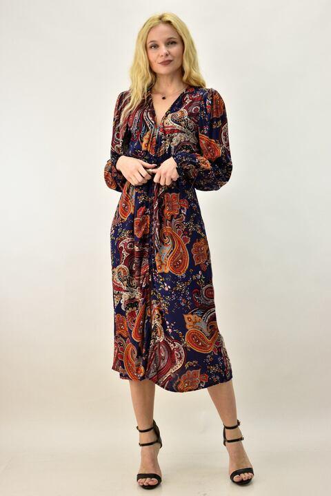 Γυναικείο φόρεμα με λουλούδια - Μπλε Σκούρο