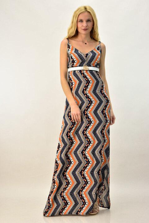 Φόρεμα Maxi με τιράντα - Πορτοκαλί
