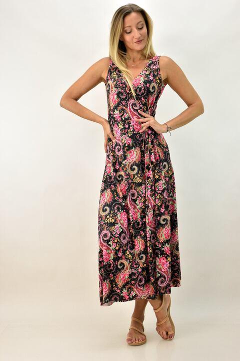 Maxi φόρεμα με δέσιμο στο πλάι - Φούξια
