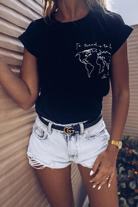 Γυναικείο T-shirt με τύπωμα to travel is to live - Μαύρο