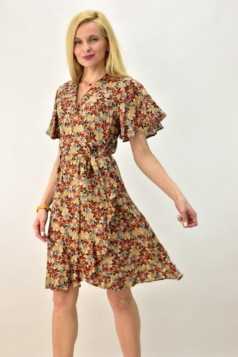 Γυναικείο φόρεμα κρουαζέ φλοράλ με ζώνη - Μπεζ