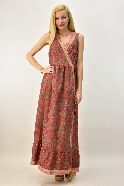 Γυναικείο μεταξωτό φόρεμα που δένει στο πλάι - Κόκκινο