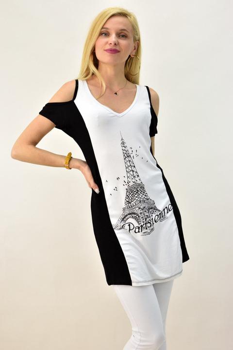 Γυναικεία μπλούζα μακριά Paris - Μαύρο