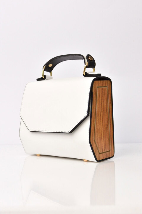 Τσάντα με ξύλινα πλαϊνά - Λευκό